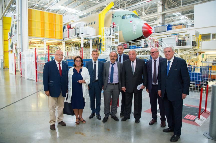 Visite Airbus Gerard Larcher président du Sénat